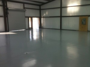 Epoxy flooring in shop