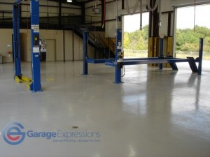 Service shop epoxy floor